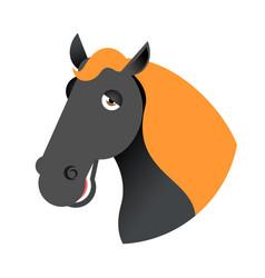 Black horse head muzzle hoss isolated on white vector