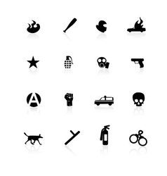 black riot icons on white vector image