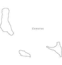 Black White Comoros Outline Map vector image vector image