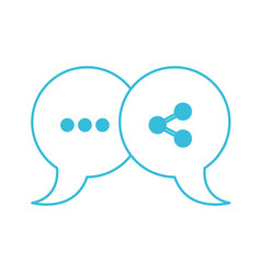 blue color silhouette of pair speech bubbles with vector image