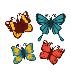 butterflies in bright colors set isolated on white vector image