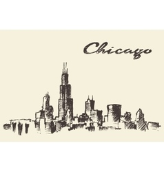 Chicago skyline vintage drawn sketch vector image