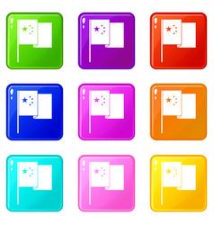 China flag icons 9 set vector