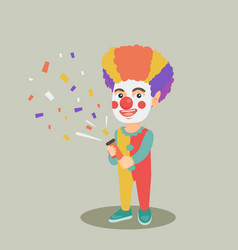 Clown boy shooting a party popper confetti vector