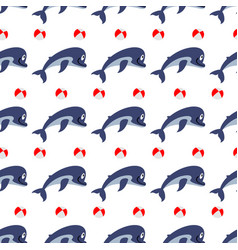cute dolphins with ball seamless pattern vector image