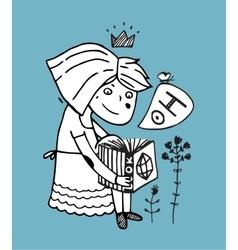 Cute princess girl reading book outline vector image