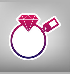 Diamond sign with tag purple gradient vector