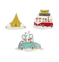 Family traveling by car bus and camping tent vector
