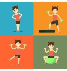 Fitness girl doing exercise set vector