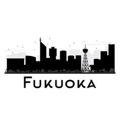 Fukuoka City skyline black and white silhouette vector image vector image