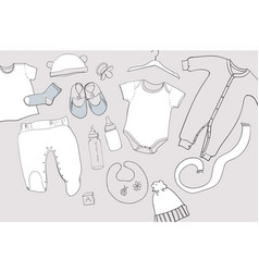 Hand drawn baby clothes flat lay vector