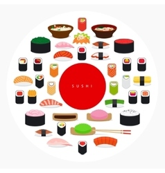 Japanese food sushi poster vector