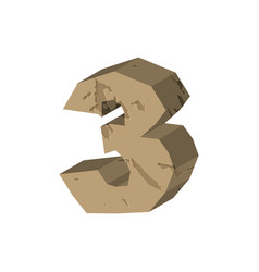 Number 3 stone rock font three stones alphabet vector
