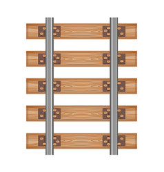 railway track road wood detailed top view rails vector image vector image
