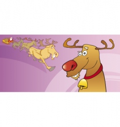 red nose reindeer vector image