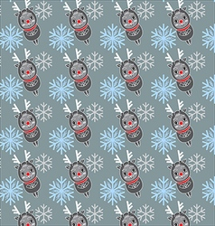 seamless pattern with deers and snowflakes vector image