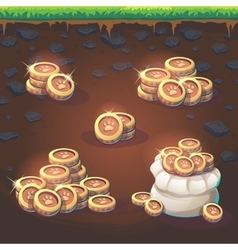 Set coins of Feed the fox GUI match 3 vector image
