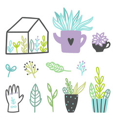 set of cute plants vector image vector image