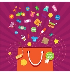 Shopping bag accessories discounts buying clothes vector image