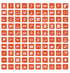 100 headphones icons set grunge orange vector