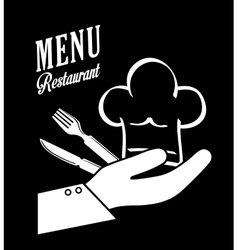 Cutlery and chefs hat design vector