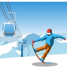 Snowboard and ski resort theme vector