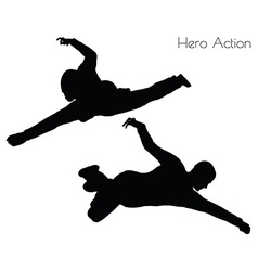 Man in hero action pose vector