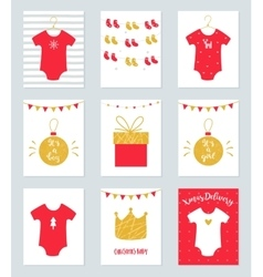 Christmas baby shower invitations and announcement vector
