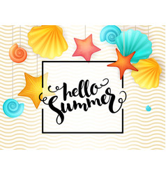 hand lettering summer phrase - hello summer vector image
