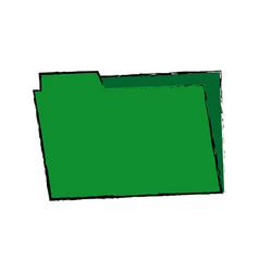 Green folder archive office supply element blank vector
