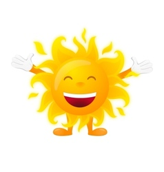 Happy sunny character isolated on white background vector