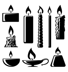 Black and white silhouette burning candles vector