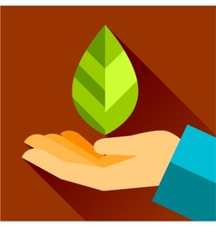 Hand and leaf nature conservation the graphic vector