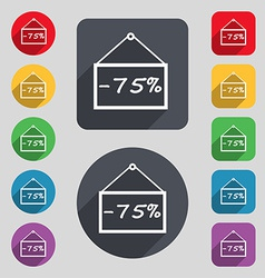 75 discount icon sign a set of 12 colored buttons vector