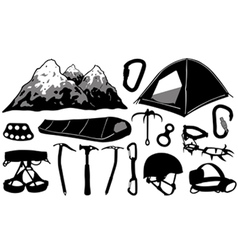 Climbing equipment collage vector
