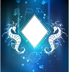 Rhombus banner with seahorses vector