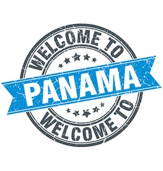 Welcome to panama blue round vintage stamp vector
