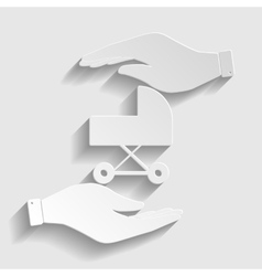 Pram sign paper style icon vector