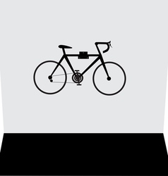 Hanging bicycle on the wall vector