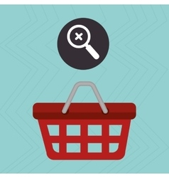 Red basket and search isolated icon design vector