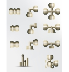 A set of brass and copper fittings vector image vector image