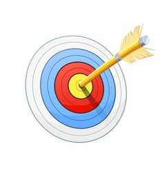 Arrow and target for bow vector image vector image
