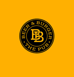 Bb letters beer and burger pub emblem vector