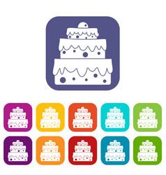Big cake icons set flat vector
