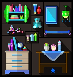 Boys bedroom furniture sets vector