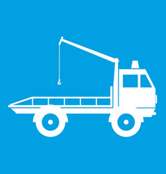 Car towing truck icon white vector
