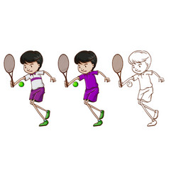 Doodle character for male tennis player vector