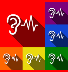 Ear hearing sound sign set of icons with vector