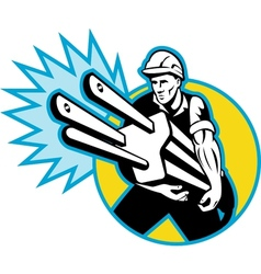Electrician or power lineman carrying a plug vector