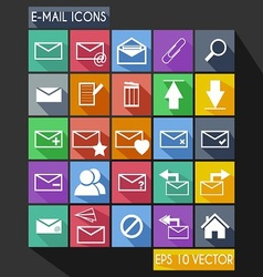 Email flat icon long shadow vector